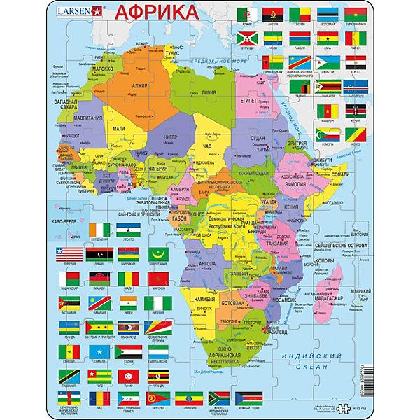 Rahmen Puzzle 70 Teile 36x28 Cm Karte Afrika Politisch Larsen