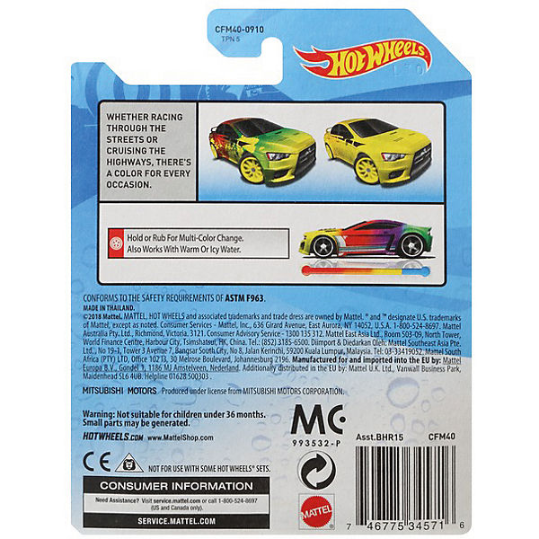 Машинка Hot Wheels Color Shifters, Mitsubishi Lanser Evolution, меняет цвет