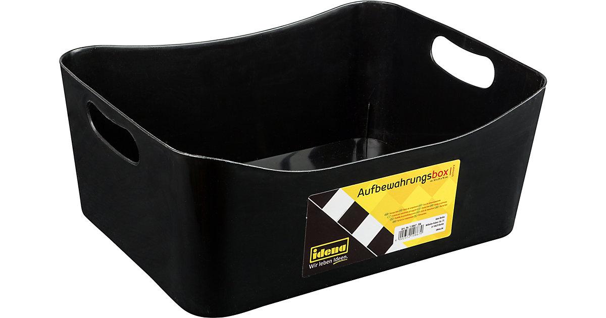 Aufbewahrungs-Box groß, schwarz | Dekoration > Aufbewahrung und Ordnung > Korbwaren | Idena