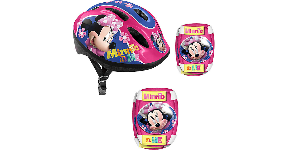 Minnie Mouse Set Fahrradhelm, Ellbogen- und Knieschützer rosa Gr. 53-56