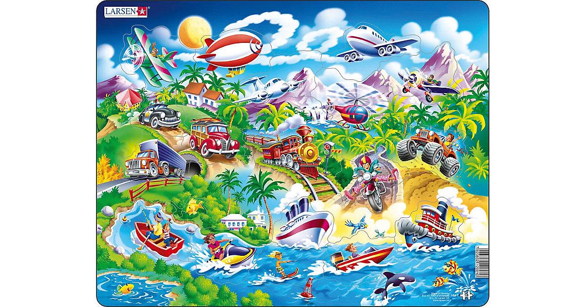 Rahmen-Puzzle, 18 Teile, 36x28 cm, Auto, Boote, Zug und Flugzeuge