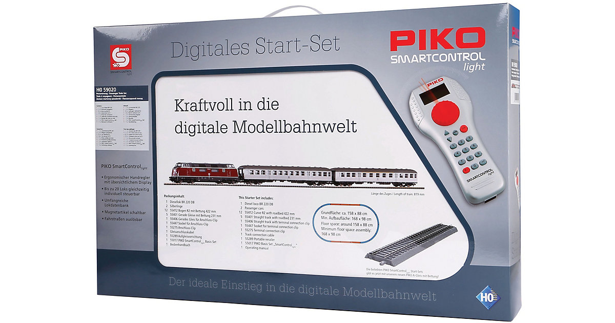 PIKO · PIKO SmartControl light Set mit Bettungsgleis DB Personenzug