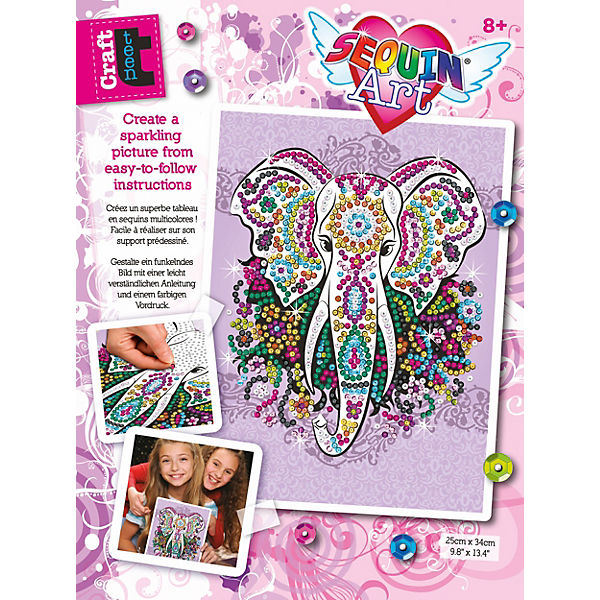 Sequin Art Teen Craft - Elefant