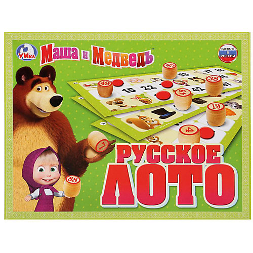 """Настольная игра """"Русское лото"""", Маша и Медведь от Умка"""