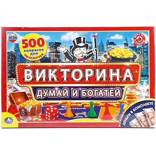 """Настольная игра """"Викторина 500 вопросов"""" Думай и богатей с деньгами от Умка"""