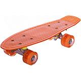 Скейтборд Наша Игрушка  со светящимися колесами, оранжевый