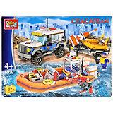 Конструктор Город Мастеров «Спасательный джип с лодкой», с фигурками, 375 деталей