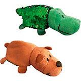 """Мягкая игрушка-вывернушка 1Toy """"Блеск с пайетками"""", Крокодил-Медведь"""