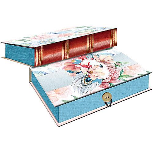 Коробка подарочная Феникс-презент Цветы и павлиньи перья, размер M от Феникс-Презент