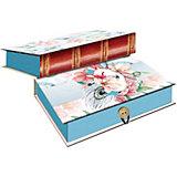 Коробка подарочная Феникс-презент Цветы и павлиньи перья, размер M