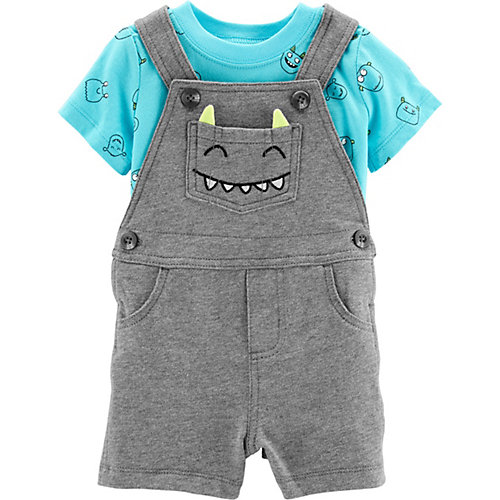 Комплект Carter's: футболка и полукомбинезон - серый/голубой от carter`s