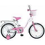 Двухколесный велосипед Novatrack Butterfly, 14 дюймов, белый-розовый