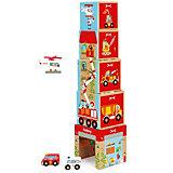 Башня из кубиков Scratch JUMBO с автомобилями и вертолетом