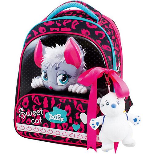 Ранец DeLune, мешок, жесткий пенал, мишка, ленточка - черный/розовый от DeLune