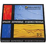 Акриловые краски Brauberg в тубах, 18 цветов