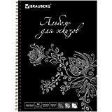 Скетчбук для эскизов Brauberg черная бумага, А4