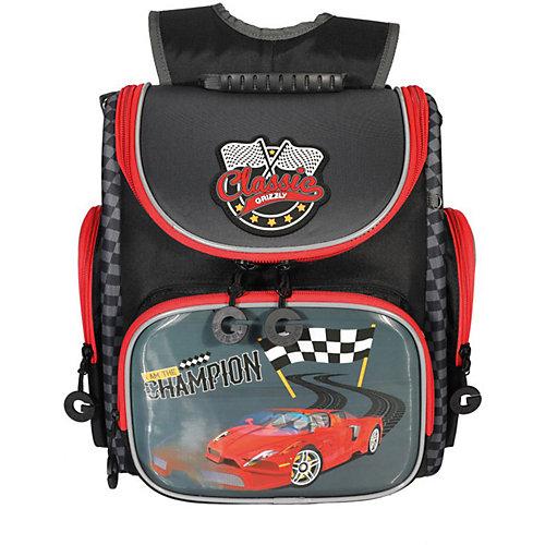 Рюкзак школьный Grizzly, красный - темно-серый от Grizzly