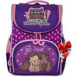 Рюкзак школьный с мешком Grizzly, аметист - фиолетовый