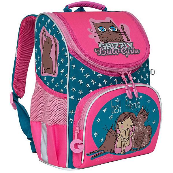 Рюкзак школьный с мешком Grizzly, изумрудный - жимолость