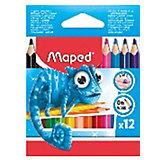 Набор пластиковых цветных карандаей Maped Pulse Maxi трехгранные, 12 цветов