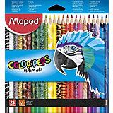 Набор цветных карандаей Maped Color'peps Animals с декором, 24 цвета