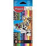 Набор цветных карандаей Maped Color'peps Animals с декором, 12 цветов