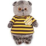 Мягкая игрушка Budi Basa Кот Басик в полосатой футболке с пчелой, 25 см