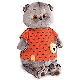 Мягкая игрушка Budi Basa Кот Басик в оранжевой футболке в рыбки с львенком, 25 см