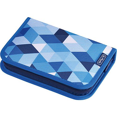 Пенал Herlitz Blue Cubes с наполнением - голубой от herlitz