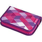 Пенал Herlitz Pink Cubes с наполнением
