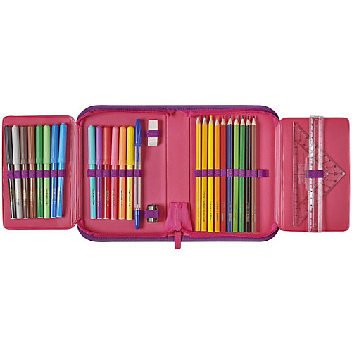 Пенал Herlitz Pink Cubes с наполнением - розовый от herlitz