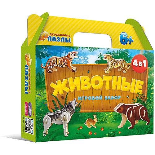 """Комплект 3D пазлов 4в1 Геодом """"Животные"""" от ГеоДом"""