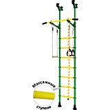 Детский спортивный комплекс DSK Распорный с регулировкой турника, зеленый/желтый
