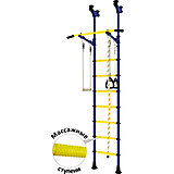 Детский спортивный комплекс DSK Распорный с регулировкой турника, синий/желтый