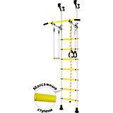 Детский спортивный комплекс DSK Распорный с регулировкой турника, белый/желтый