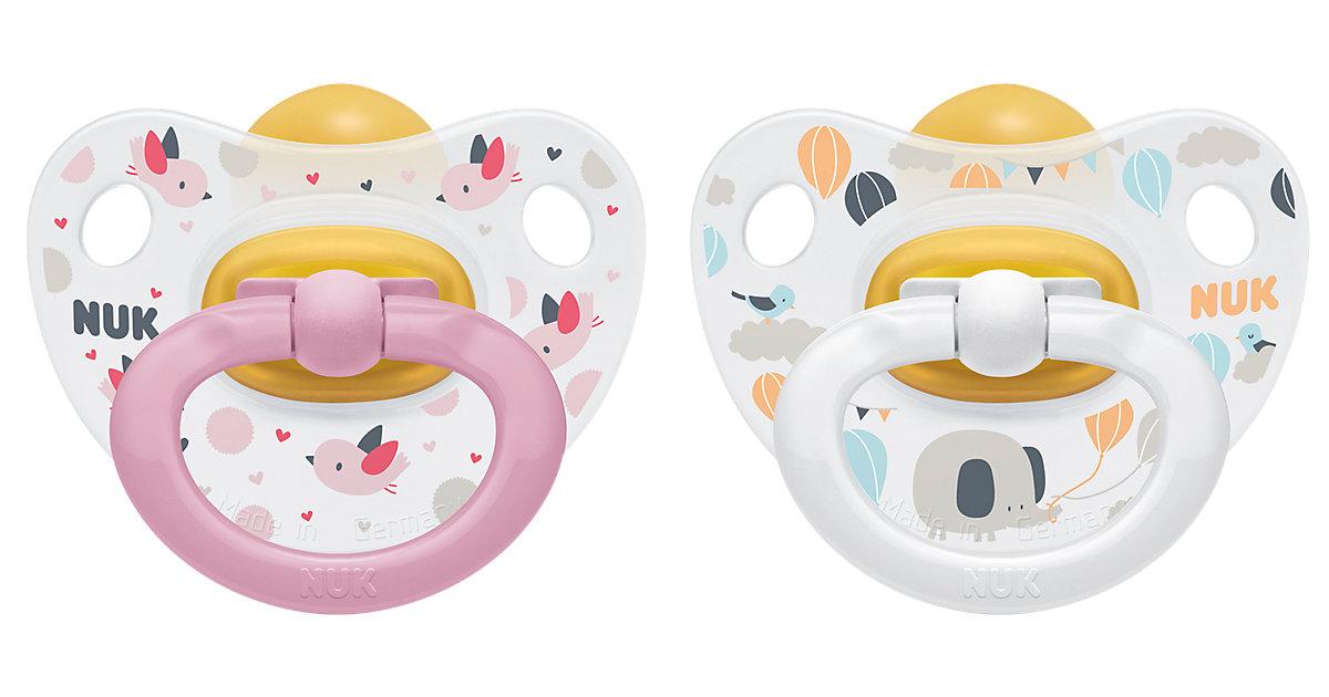 NUK · Schnuller Happy Kids, Latex, Gr. 1, rosa & weiß, 2er Pack