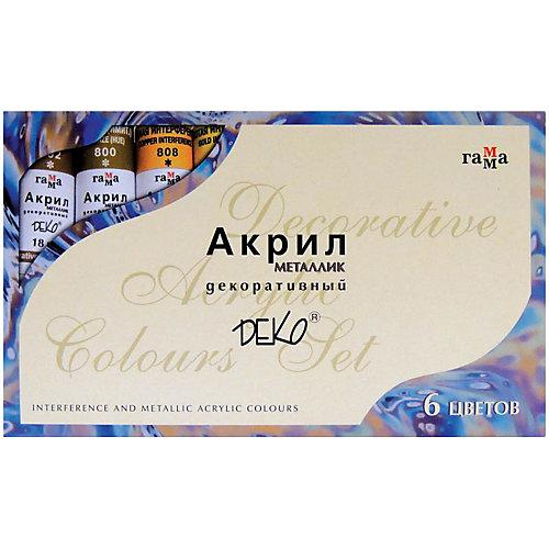 Краски акриловые Гамма «Деко», 06 цветов, металлик от ГАММА