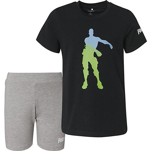 Комплект Name it: футболка и шорты - черный от name it