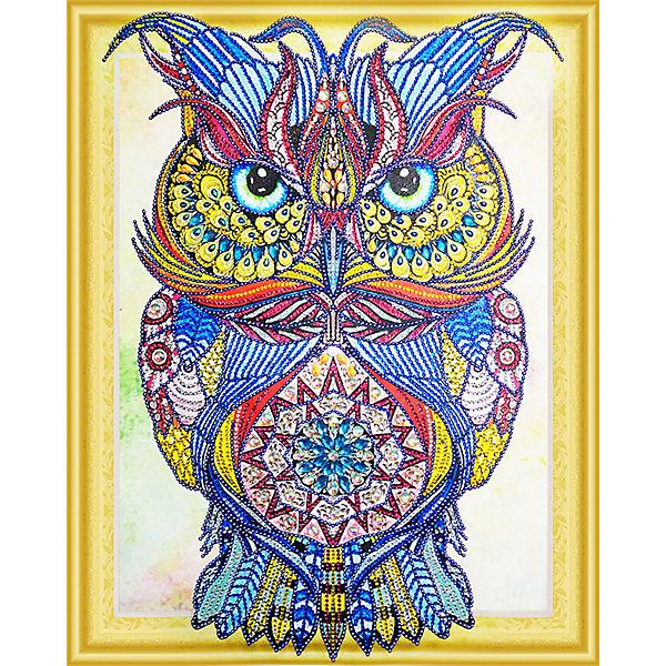 Алмазная картина Color KIT Драгоценная сова, с фигурными стразами