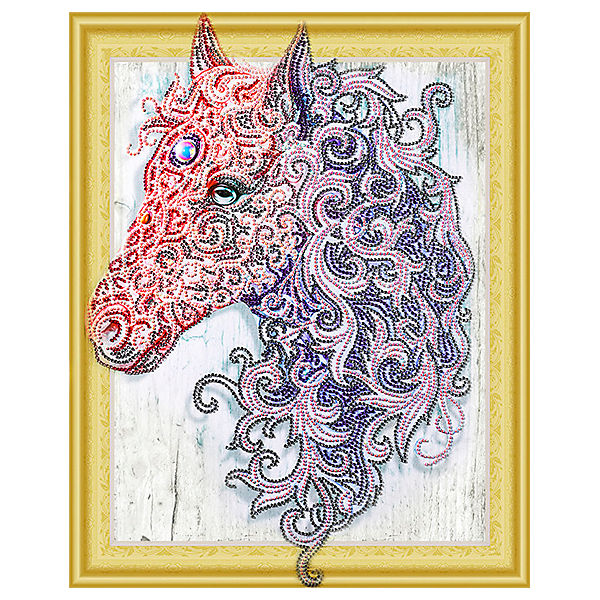 Алмазная картина Color KIT Аметистовая лошадь, с фигурными стразами