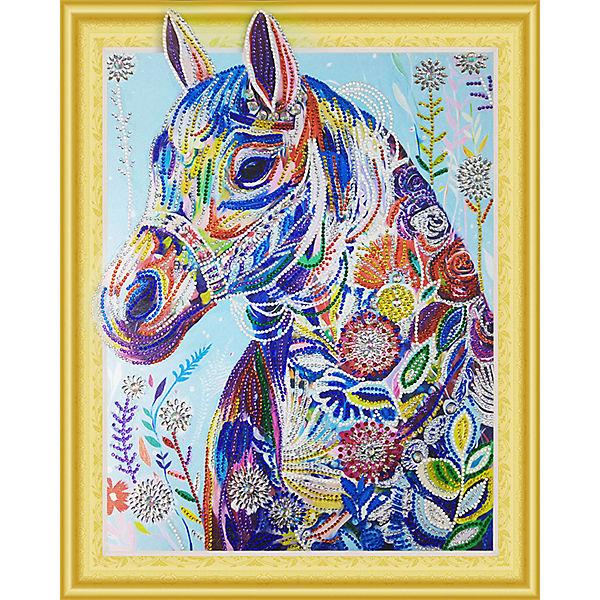 Алмазная картина Color KIT Цветочная лошадь, с фигурными стразами
