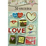 """3D-наклейки Апплика """"Любовь"""", 9 шт"""
