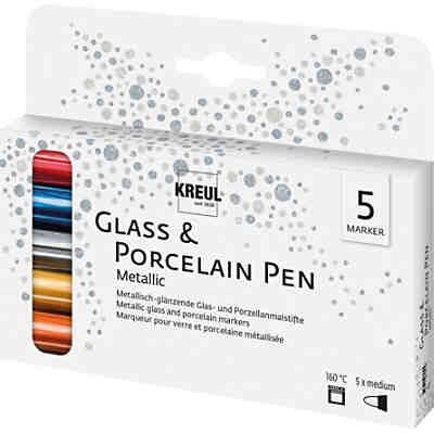 Glass & Porcelain Pen Metallic deckend, 5 Stifte