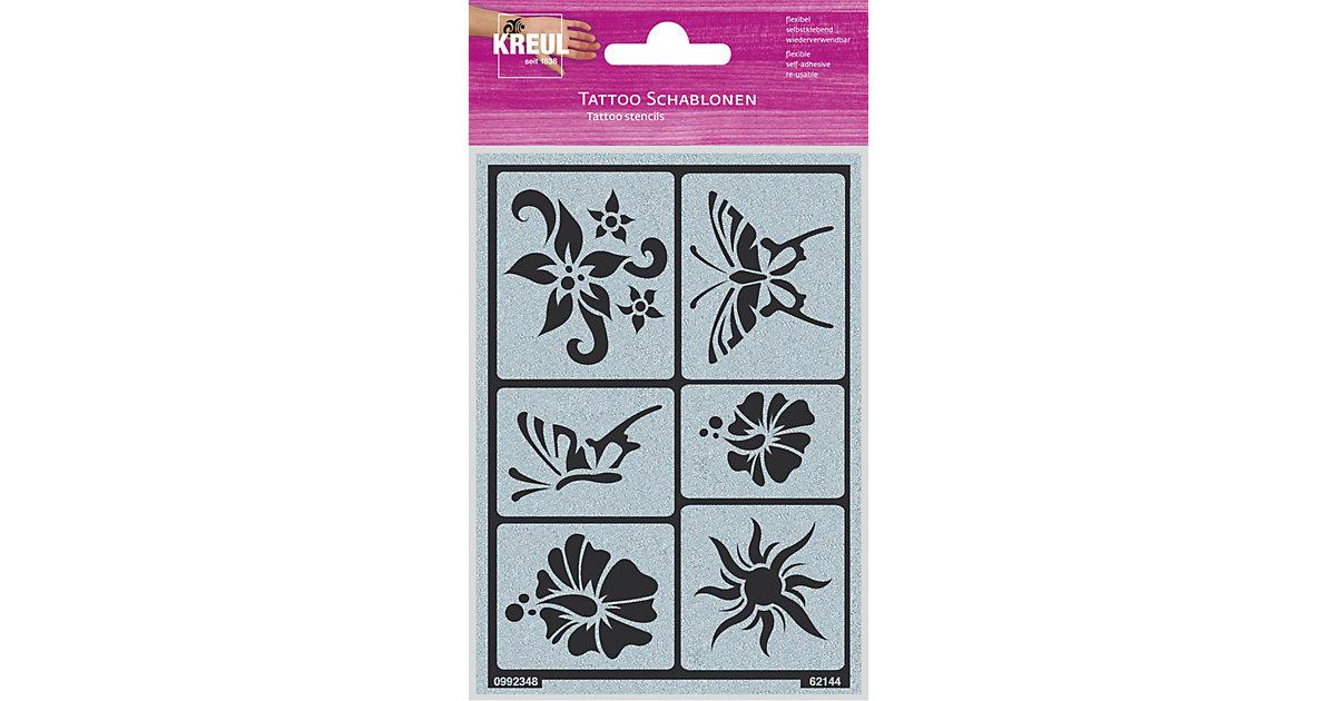 Tattoo Schablone Sonne, Blume, Schmetterling
