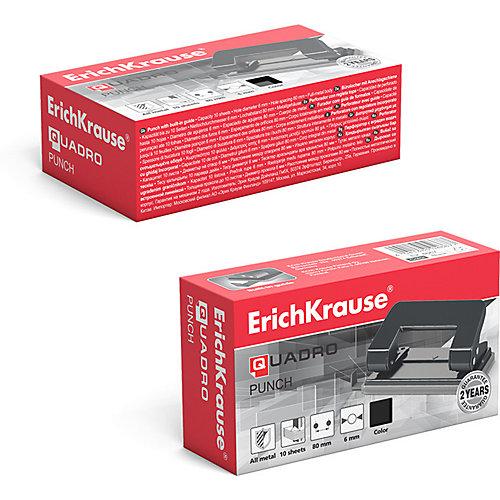 Дырокол Erich Krause Quadro до 10 листов, черный от Erich Krause