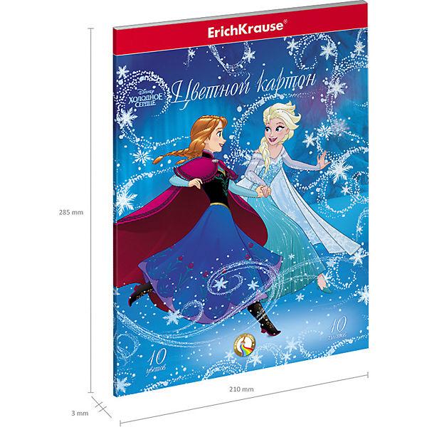 Цветной картон ErichKrause «Холодное сердце. Эльза и волшебство Северного сияния», А4, 10 листов, 10 цветов