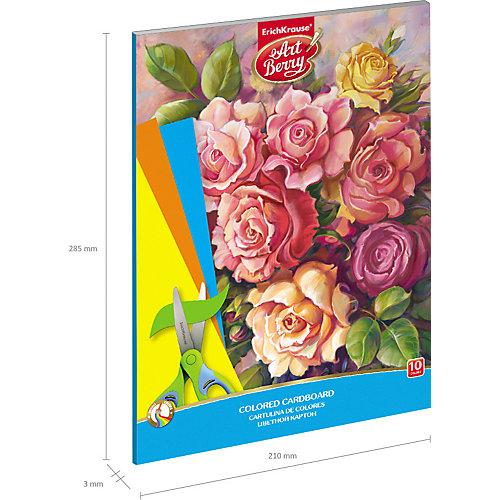 Цветной картон мелованный в папке ArtBerry «Розы», А4, 10 листов,10 цветов от Erich Krause