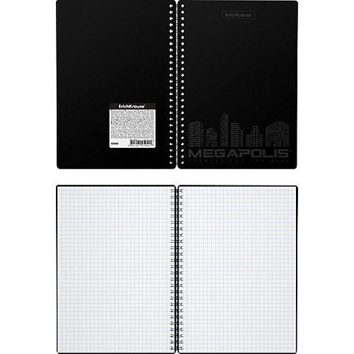 Тетрадь общая Erich Krause MEGAPOLIS, черный, А5, 80 листов, клетка от Erich Krause