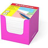 Бумага для заметок Erich Krause, 90x90x90 мм, белый, в розовой картонной подставке
