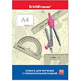 Бумага для черчения Erich Krause, А4, 10 листов, горизонтальная рамка